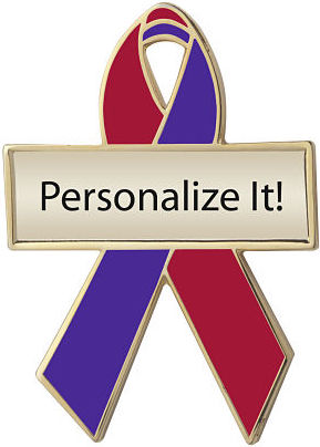 Personalized Red and Purple Awareness Ribbon Pin