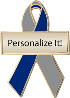 Personalized Silver and Blue Awareness Ribbon Pin