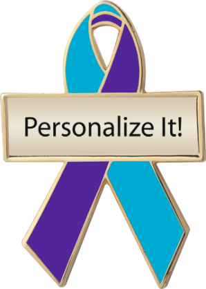 Personalized Teal and Purple Awareness Ribbon Pin
