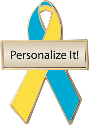 Personalized Teal and Yellow Awareness Ribbon Pin
