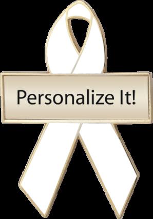 Personalized White Awareness Ribbon Pin