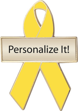 Personalized Yellow Awareness Ribbon Pin