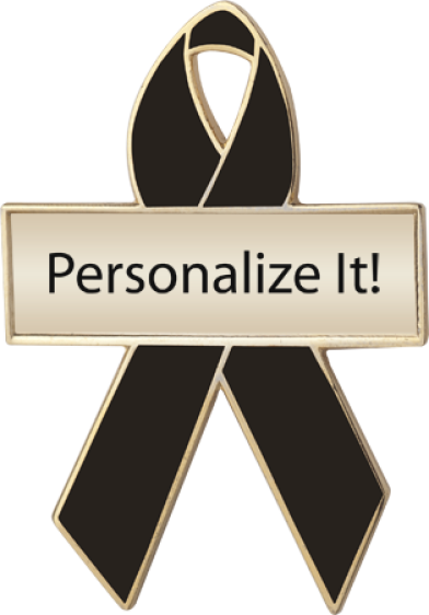 Personalized Black Awareness Ribbon Pin