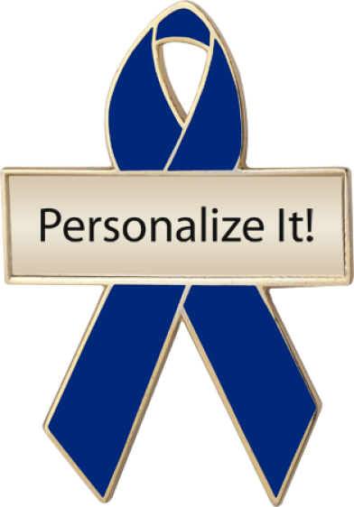 Personalized Blue Awareness Ribbon Pin