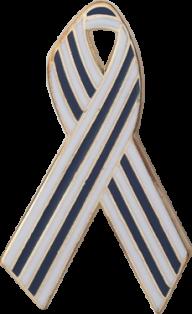 Blue and White Pinstripes Awareness Ribbon Pin