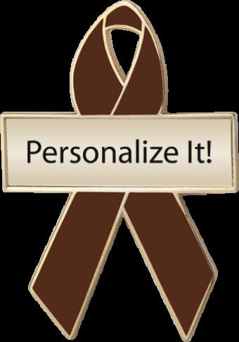 Personalized Brown Awareness Ribbon Pin
