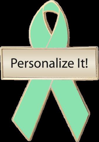 Personalized Light Green Awareness Ribbon Pin