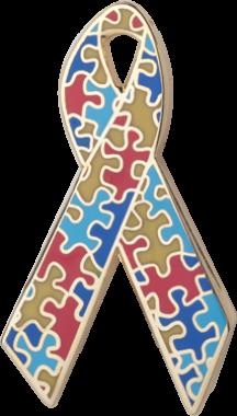 Puzzle Pieces Awareness Ribbon Pin