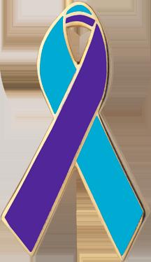Teal and Purple Awareness Ribbon Pin