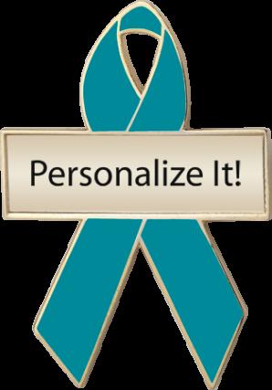 Personalized Turquoise Awareness Ribbon Pin
