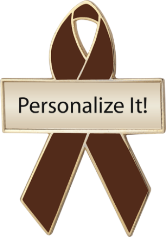 Personalized Brown Awareness Ribbon Pin
