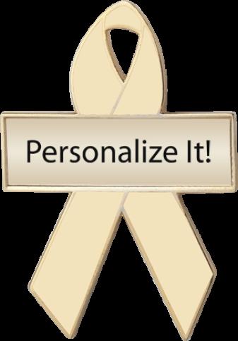 Personalized Cream Awareness Ribbon Pin