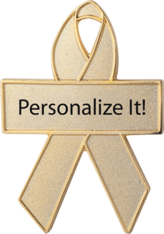 Personalized Gold Fabric Awareness Ribbon Pin