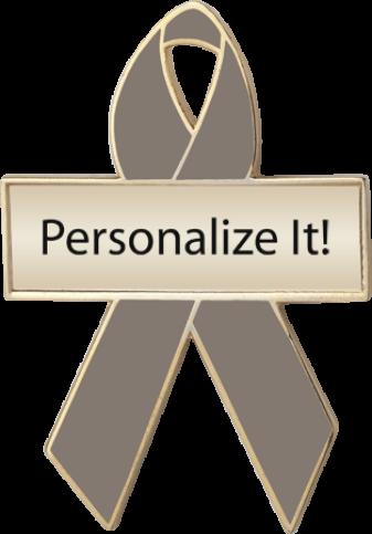 Personalized Graphite Awareness Ribbon Pin