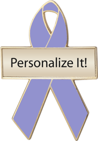 Personalized Lavender Awareness Ribbon Pin