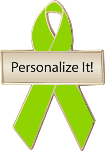 Personalized Lime Green Awareness Ribbon Pin