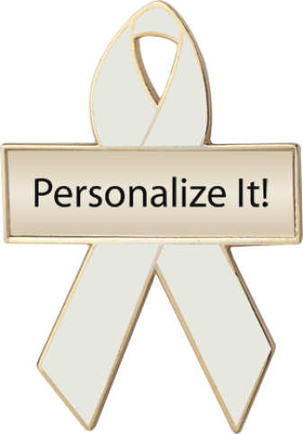Personalized Pearl Awareness Ribbon Pin