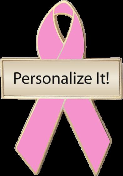 Personalized Pink Awareness Ribbon Pin