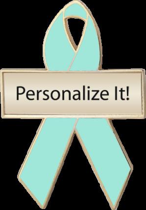 Personalized Sea Green Awareness Ribbon Pin