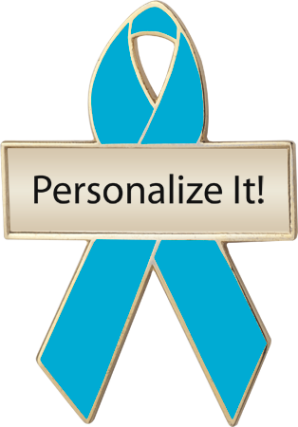 Personalized Teal Awareness Ribbon Pin