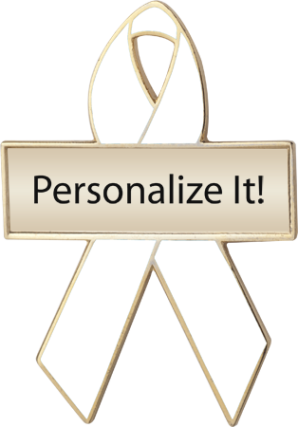 Personalized White Awareness Ribbon Pin