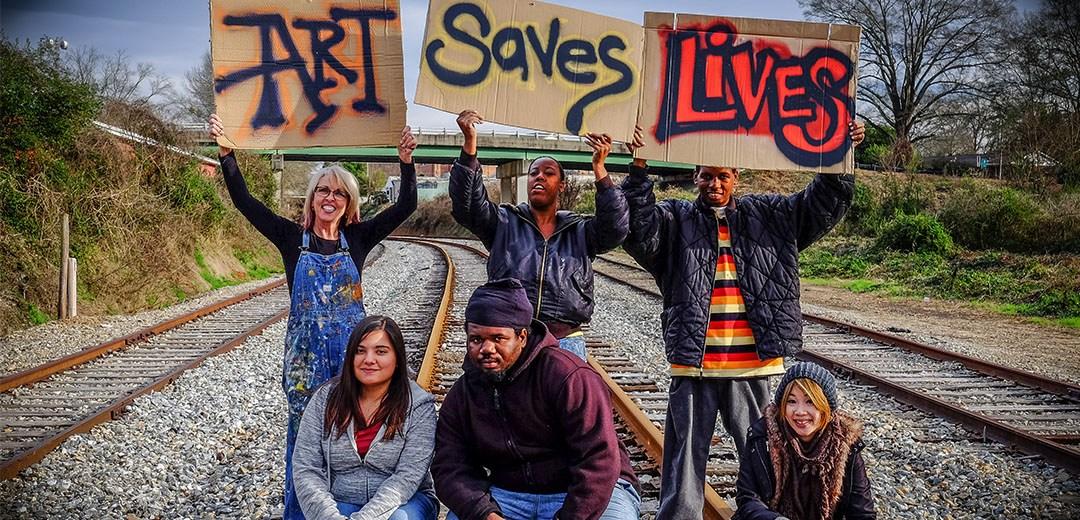 Members of Backstreet Community Arts, including gallery43 artist Kimberly Ramey (far left).