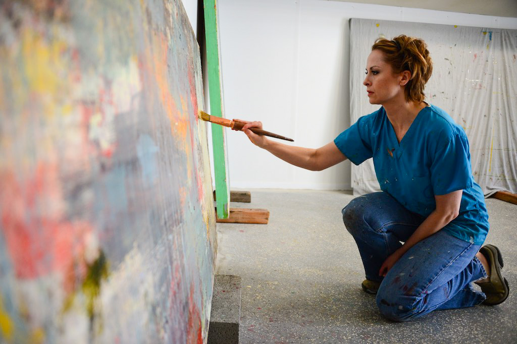 Artist Erika Guillory Page at work