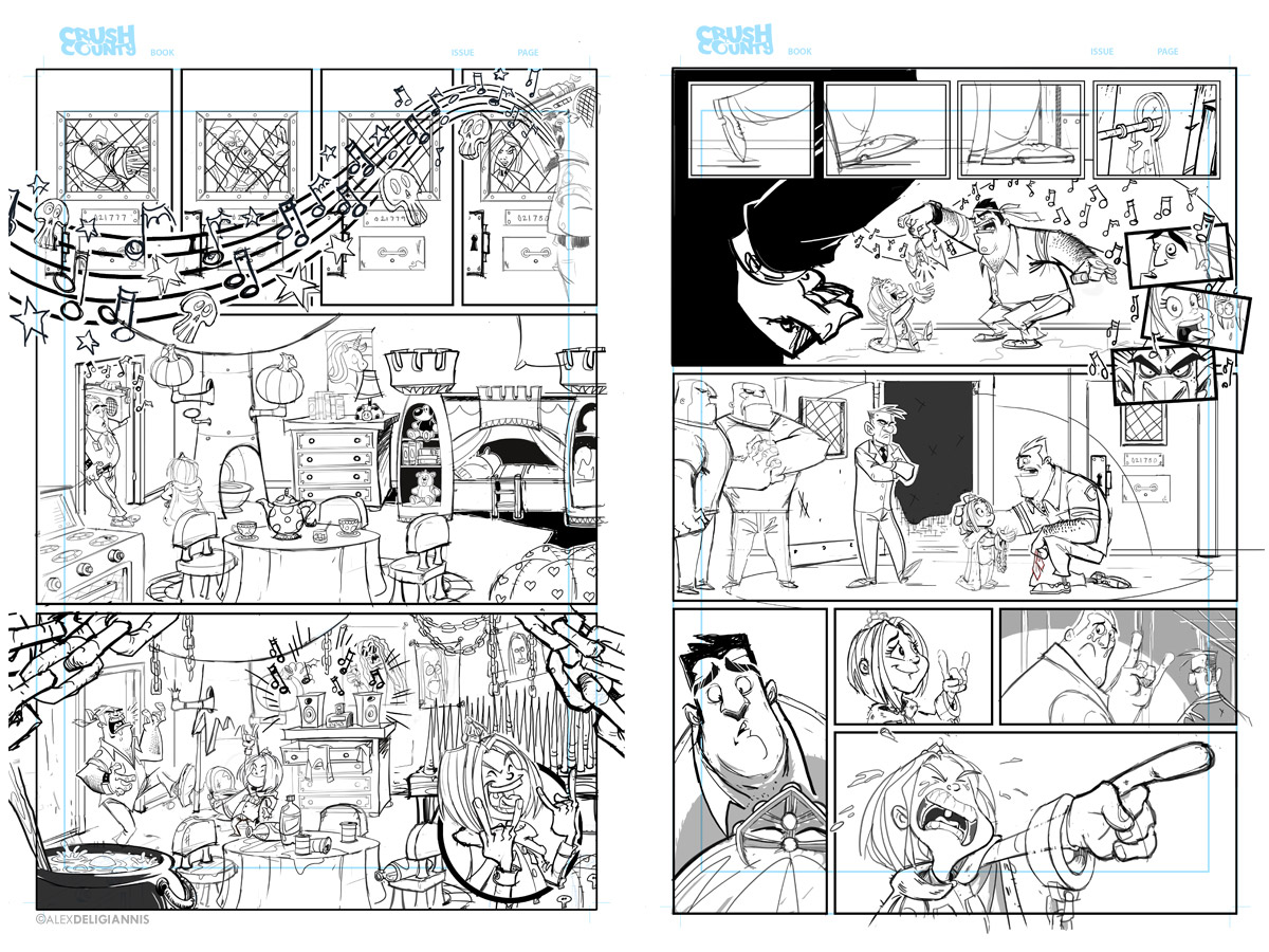 Pencilled pages, which I'll print out in red and finish with ink.