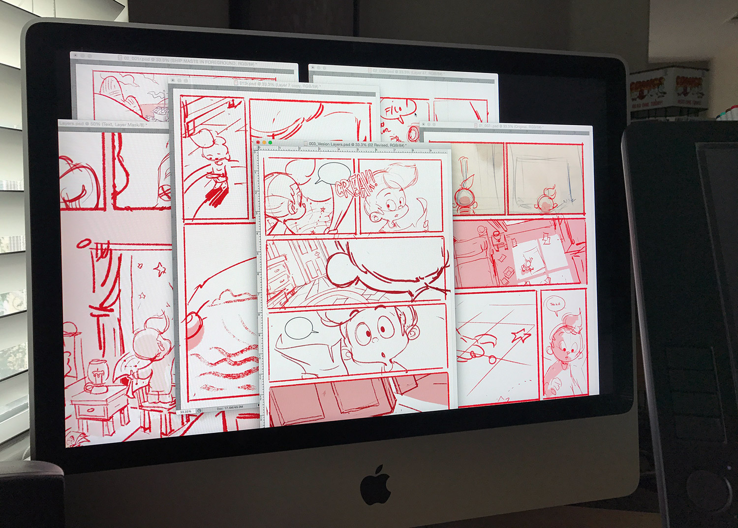 Various pages, most of which have been scrapped as the story evolves.