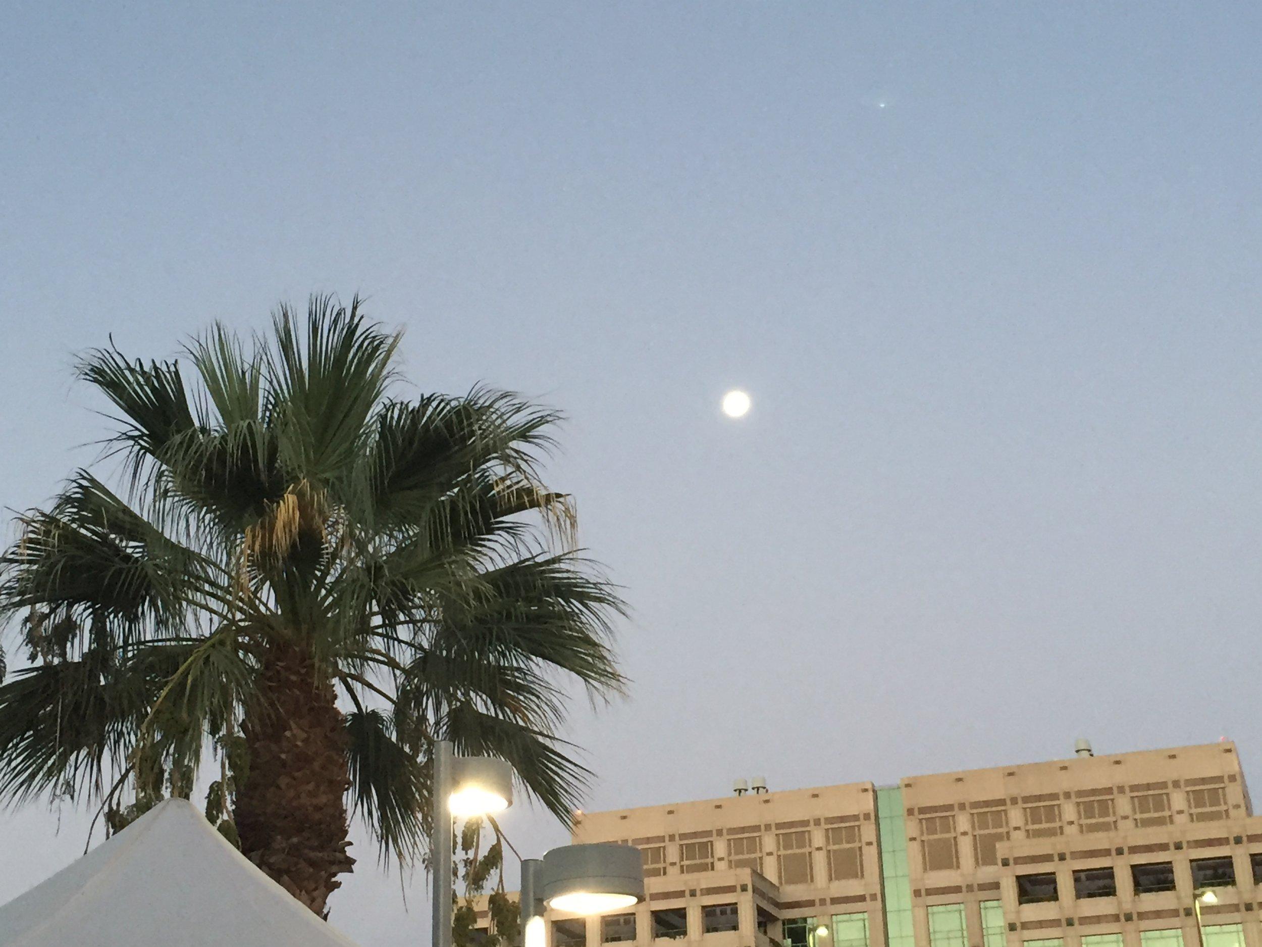 Moon and Venus at daybreak