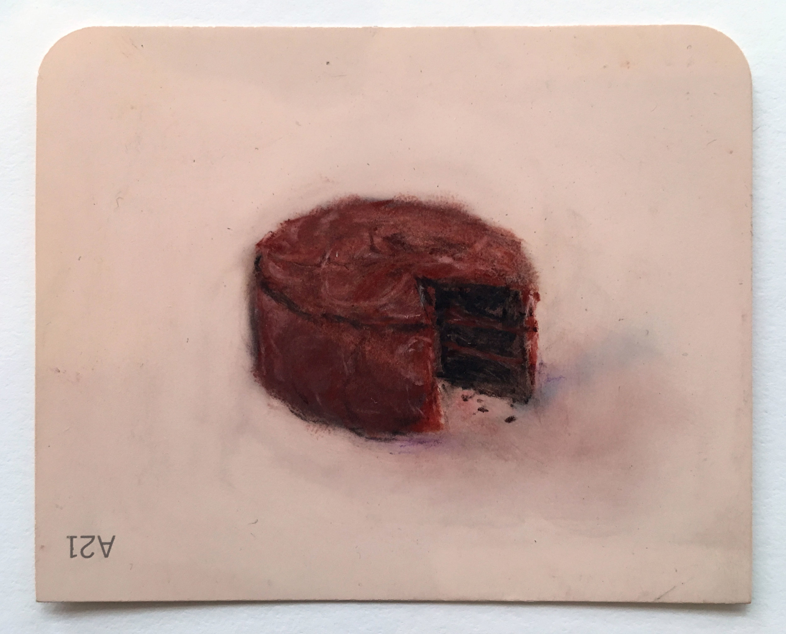 Mie Yim,  Chocolate Cake , 2015, Pastel on Martha Stewart Paintchip, 3 x 4 inches
