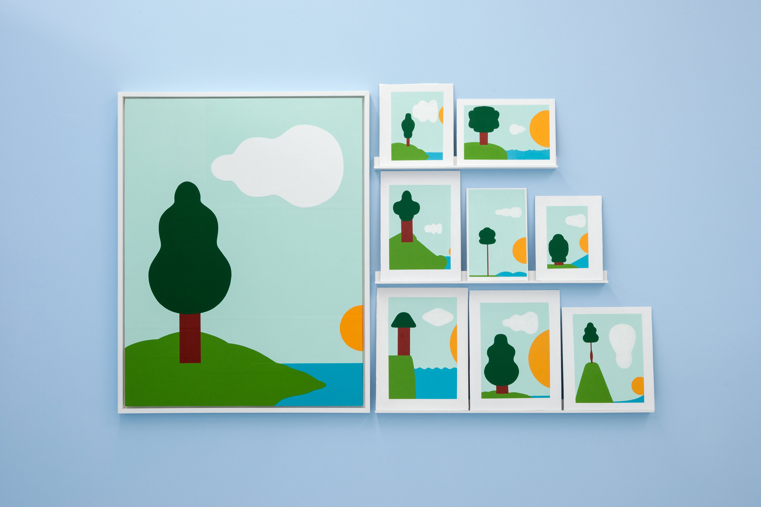 Mark Mulroney  Bucolic Landscape  and  Book Covers (1 - 8),  2017 Acrylic and Paper on Wood Panel, Acrylic on Book Covers with Shelves Dimensions Variable