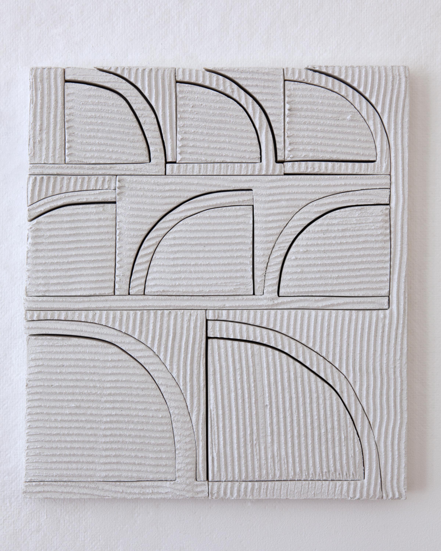 Elizabeth Atterbury  Waving , 2017 Mortar and Plywood 12 x 10 1/2 x 3/4 inches