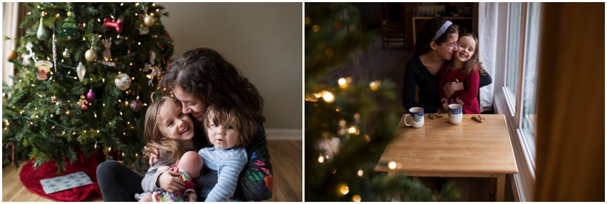 Family Photographer Rochester NY Mama with her kids at Christmas time
