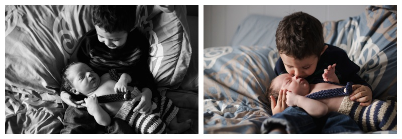 Lifestyle Newborn Photographer Rochester NY Big brother snuggles
