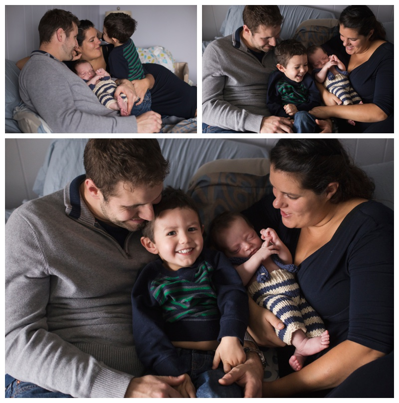 Rochester Newborn Photography Mom and Dad with two boys