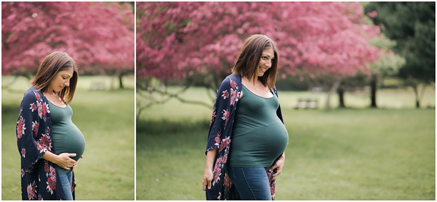 Rochester NY Maternity Photographer, glowing mom in Spring field smiling at her family