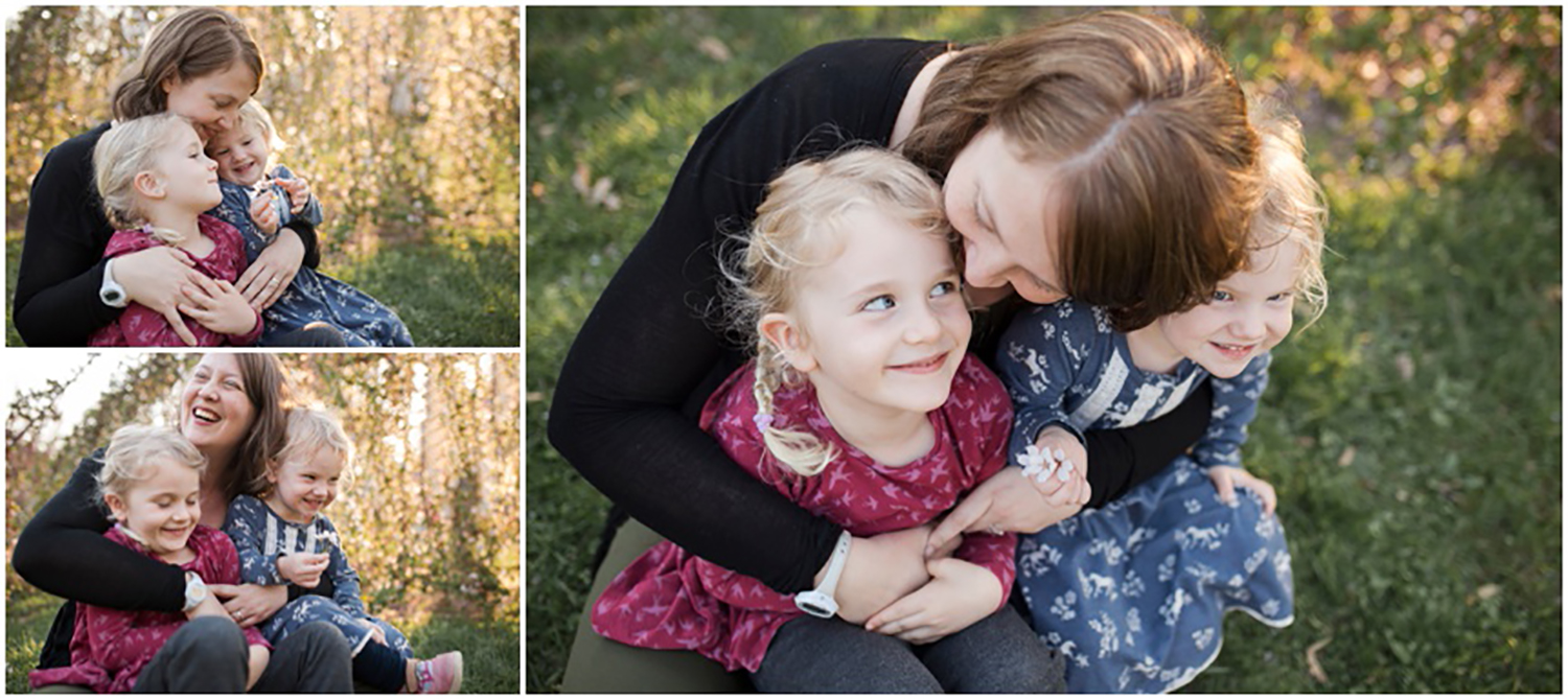 Family Photographer Rochester NY, Mama snuggling her two beautiful girls