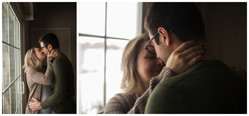 Rochester, NY Maternity Photographer, expecting couple hugging