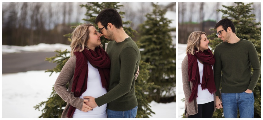 Maternity photography Oneonta NY, expecting couple in the snow