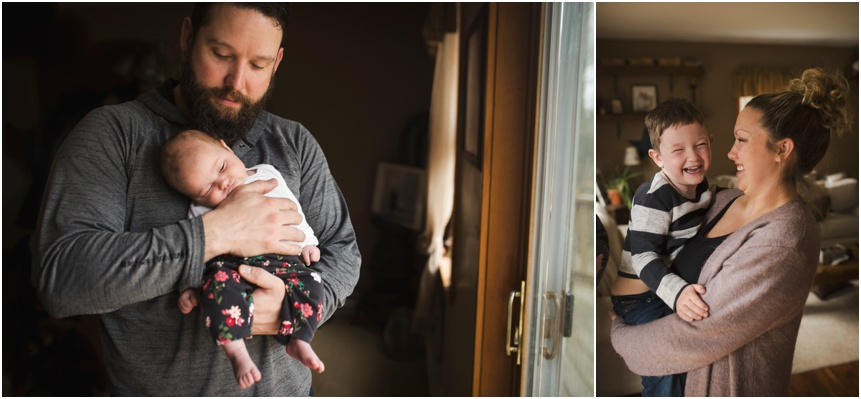 Mom and dad with kids, at home, Oneonta NY newborn photography