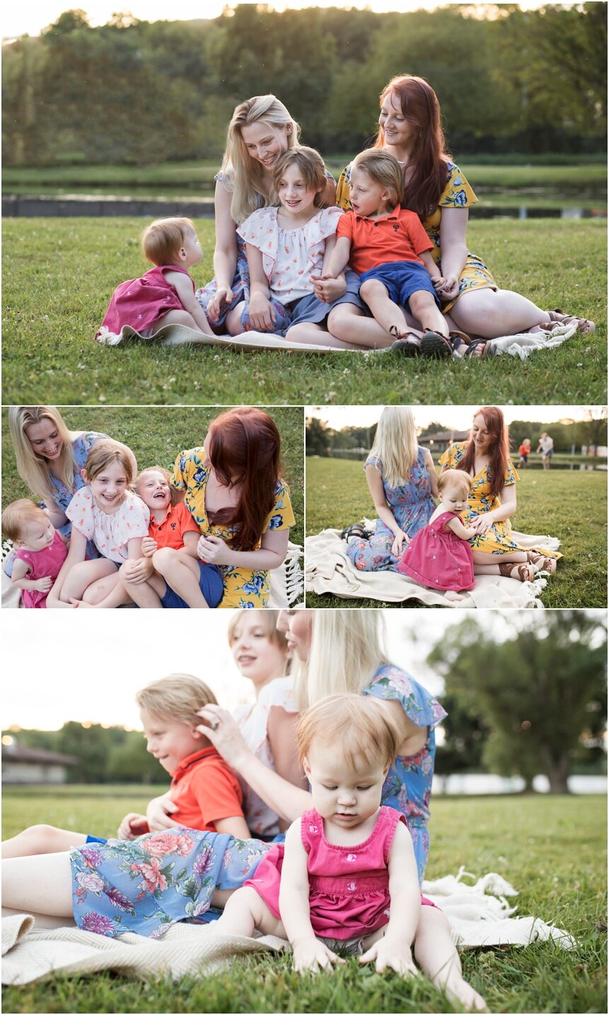 Oneonta Family Photographer, family snuggling together at park