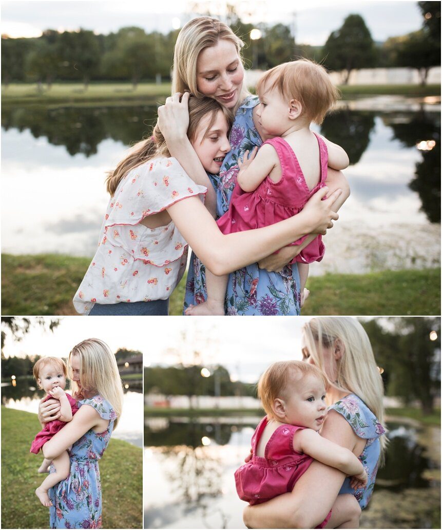 Binghamton Family Photographer, mom snuggling her girls