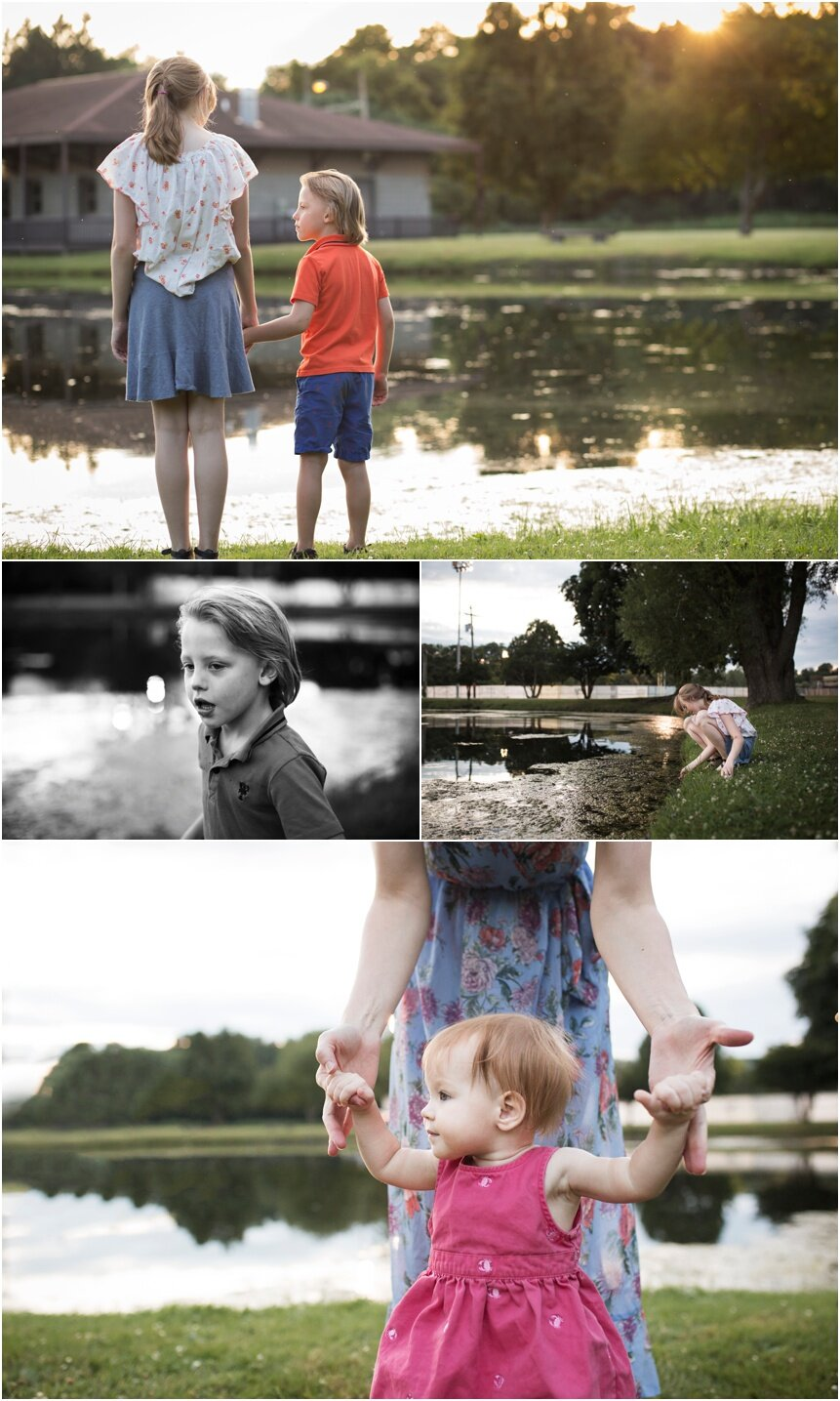 Oneonta Family Photographer, kids exploring by pond