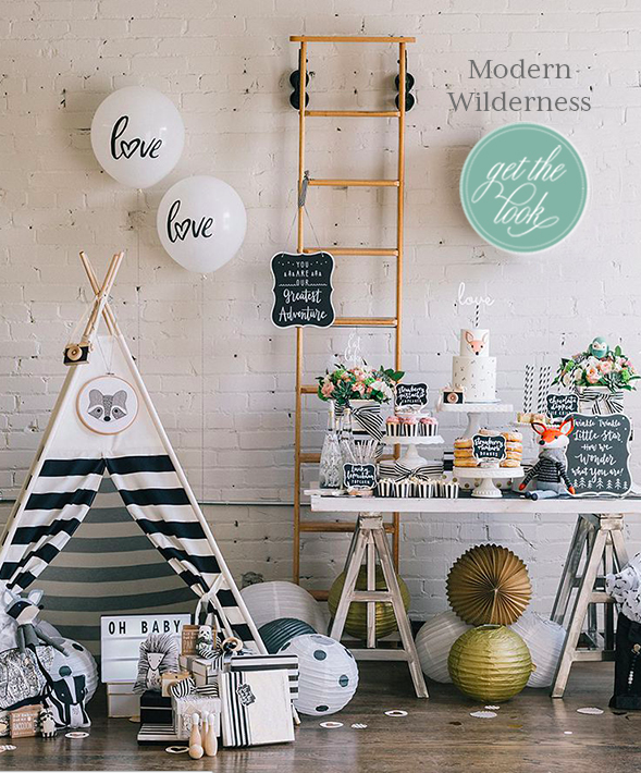 First comes love, then comes marriage, then comes baby! Here are some creative ways to use Weddingstar products for a baby shower. Boy or girl, it really doesn't matter with this Modern Wilderness styled party collaboration. It's easy to get the look by combining simple black and white graphics with pops of color and whimsical woodland elements.