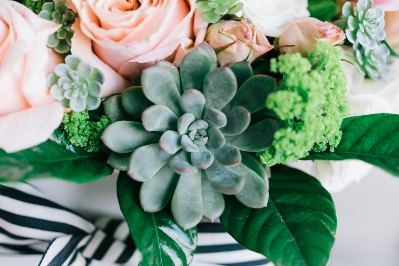 How fun is this floral and succulent combo!