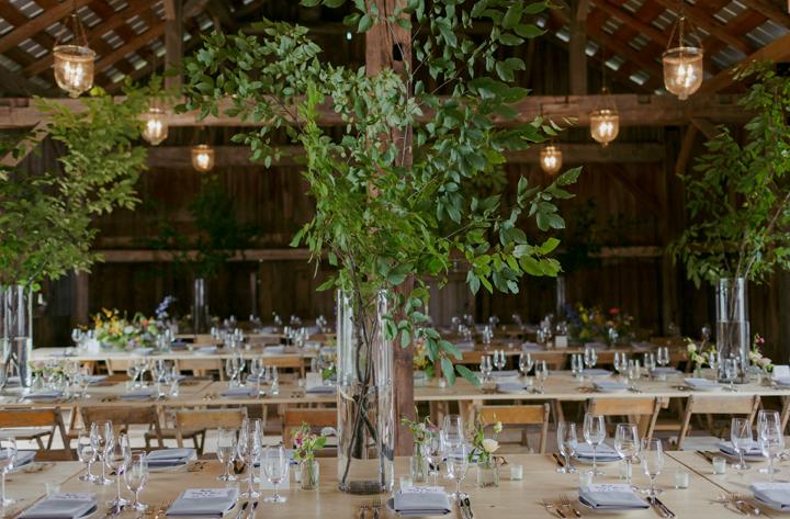 modern-rustic-wedding-catskills-venue-venues-farm-table