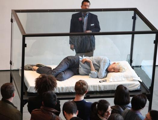 Actress Tilda Swinton sleeps in a glass box as part of The Maybe installation at NYC's MoMA in 2013. Art? Perhaps. Or maybe she just really needed some shut eye!!!