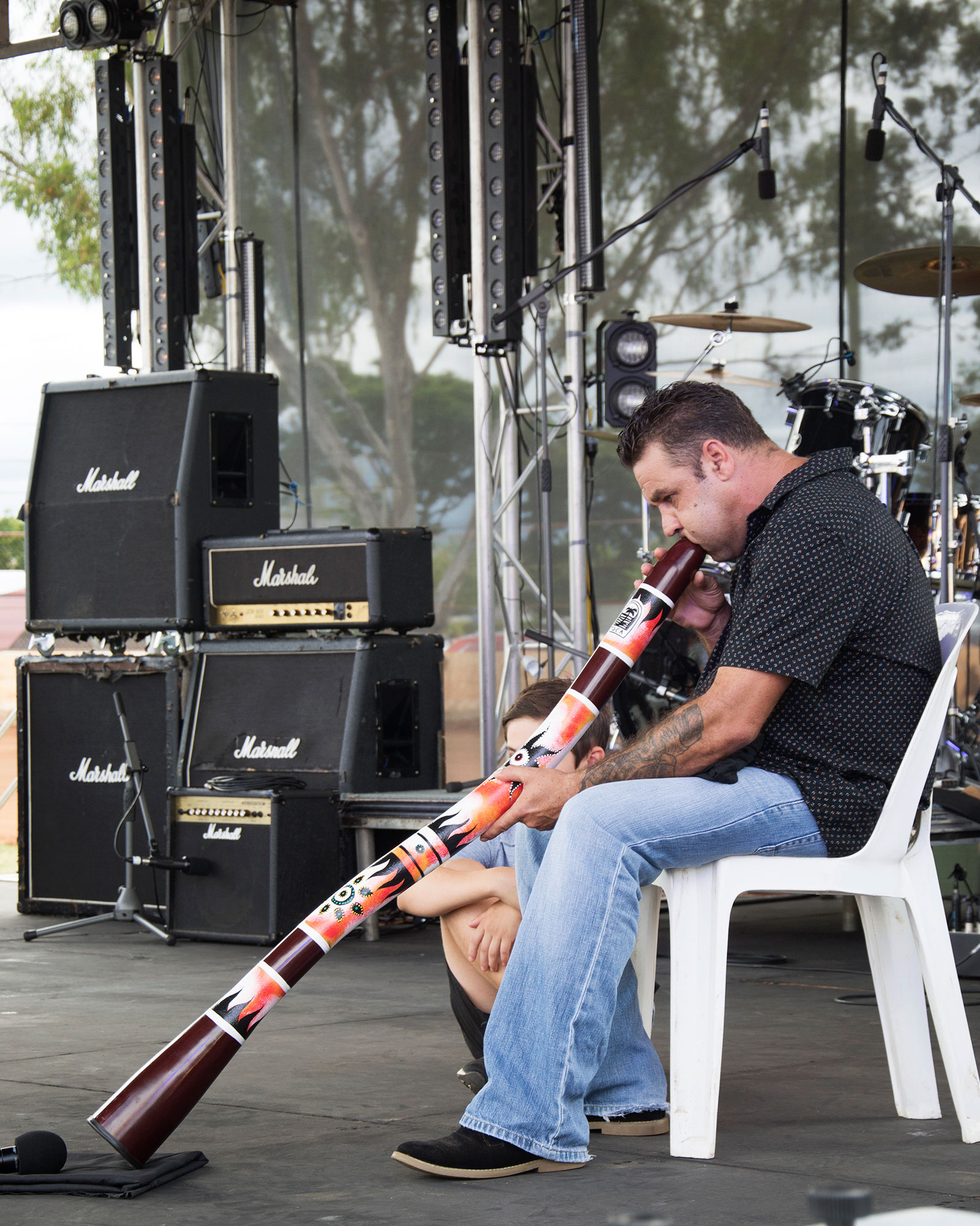 - Daniel Mackley entertained the crowds with his skills with the didgeridoo.