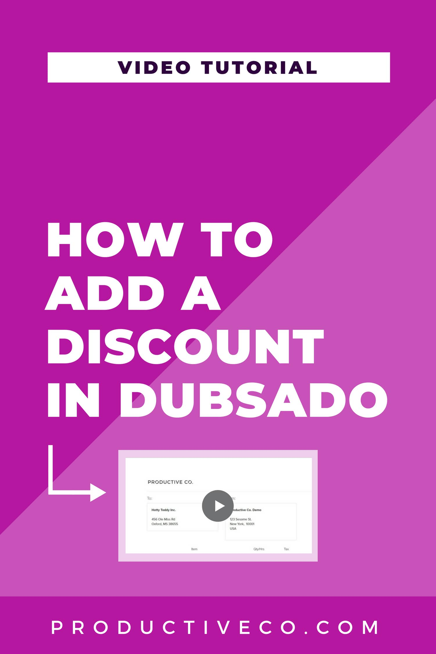 How to add a discount in Dubsado in two different ways. Add a discount to your invoices and get a coupon code for Dubsado to use on yourself!